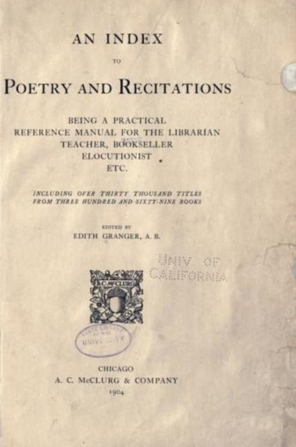 An index to poetry and recitations : being a practical reference