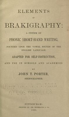 Elements of brakigraphy: a system of phonic shorthand