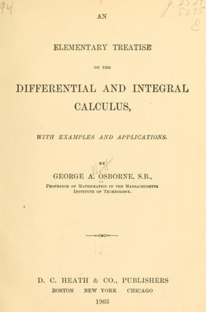 An elementrary treatise on the differential and integral calculus