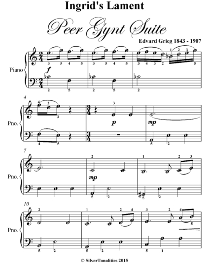 Ingrids Lament Peer Gynt Suite Easy Piano Sheet Music Ebook By
